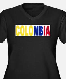 Colombia tri Women's Plus Size V-Neck Dark T-Shirt