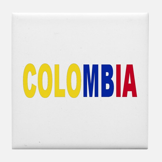 Colombia tricolor name Tile Coaster