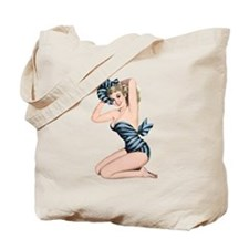 Black Blue Striped Summer Bikini Pin Up Girl Tote