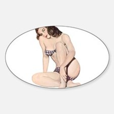 Brunette Plaid Summer Bikini Pin Up Girl Decal
