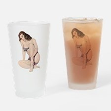 Brunette Plaid Summer Bikini Pin Up Girl Drinking