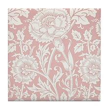 William Morris Pink and Rose Tile Coaster