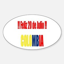 20 Julio Colombian day Oval Decal