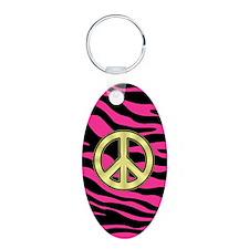 HOT PINK ZEBRA GOLD PEACE Aluminum Oval Keychain