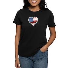 Vintage US Flag Heart T-Shirt