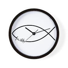 Black Christian Faith Fish Wall Clock