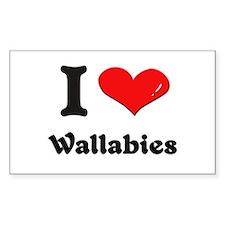 I love wallabies Rectangle Decal