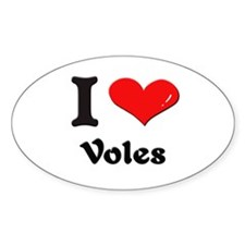 I love voles Oval Decal