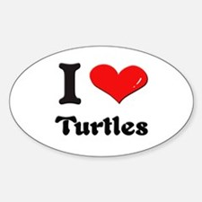 I love turtles Oval Decal