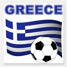 "Greece soccer Square Car Magnet 3"" x 3"""