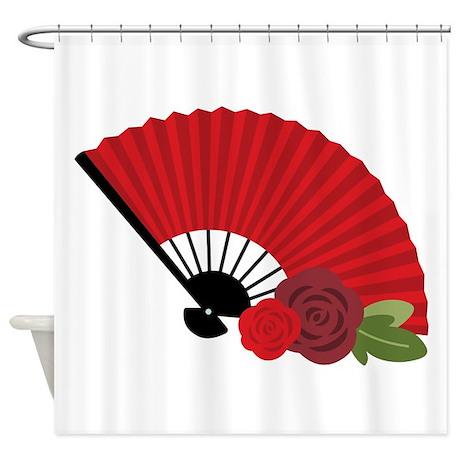 Spanish Asian Flamenco Folding Fan Shower Curtain By Hopscotch12