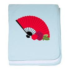 Spanish Asian Flamenco Folding Fan baby blanket