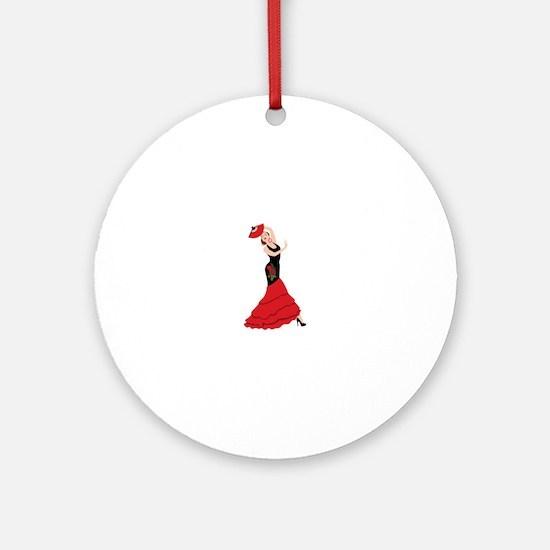 Spanish Flamenco Dancing Woman Ornament (Round)