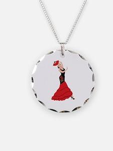 Spanish Flamenco Dancing Woman Necklace