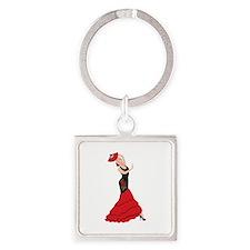 Spanish Flamenco Dancing Woman Keychains