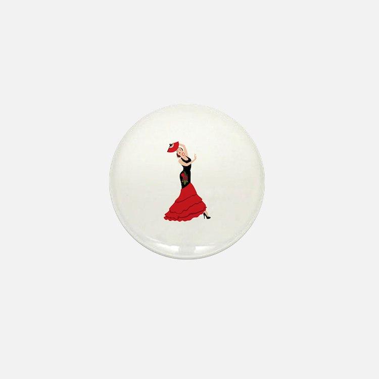 Spanish Flamenco Dancing Woman Mini Button (10 pac