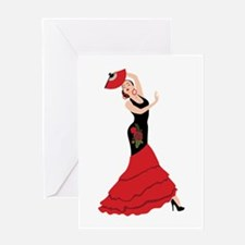 Spanish Flamenco Dancing Woman Greeting Cards