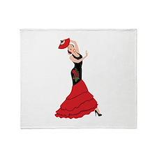 Spanish Flamenco Dancing Woman Throw Blanket