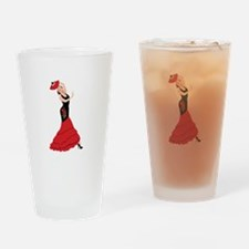 Spanish Flamenco Dancing Woman Drinking Glass