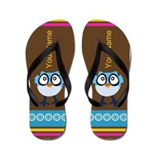 Cute Blue Owl Personalized Flip Flops