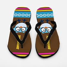Cute Blue Owl Personalized Flip Flops