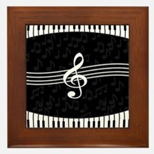 Stylish designer piano and music notes Framed Tile