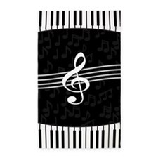 Stylish designer piano and music notes 3'x5' Area
