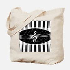 Stylish designer piano and music notes Tote Bag