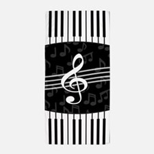 Stylish designer piano and music notes Beach Towel