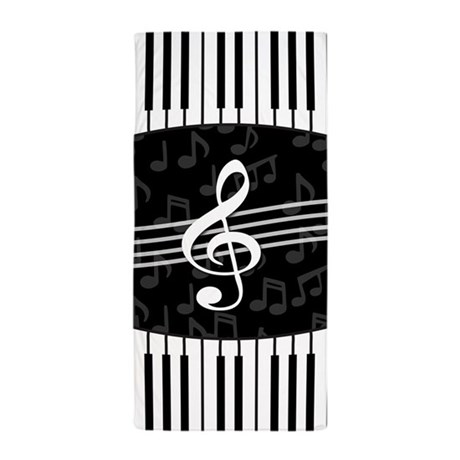 Delightful Stylish Designer Piano And Music Notes Beach Towel