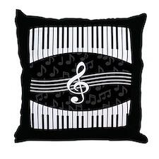 Stylish designer piano and music notes Throw Pillo