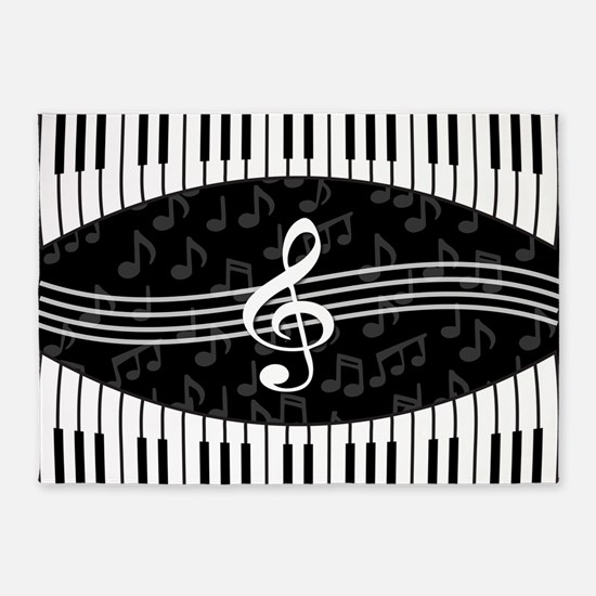 Stylish designer piano and music notes 5'x7'Area R