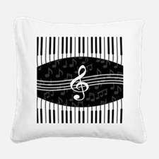 Stylish designer piano and music notes Square Canv