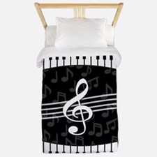 Stylish designer piano and music notes Twin Duvet