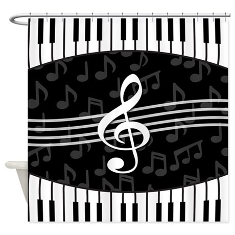 Stylish Designer Piano And Music Notes Shower Curt