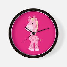 Pink Giraffe on Pink Background Wall Clock