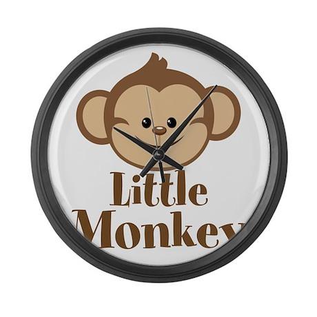 Cute Little Monkey Large Wall Clock
