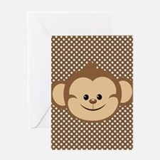 Monkey on Brown and White Polka Dots Greeting Card