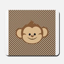 Monkey on Brown and White Polka Dots Mousepad