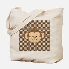 Monkey on Brown and White Polka Dots Tote Bag