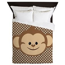 Monkey on Brown and White Polka Dots Queen Duvet