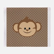 Monkey on Brown and White Polka Dots Throw Blanket