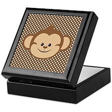 Monkey on Brown and White Polka Dots Keepsake Box