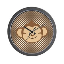 Monkey on Brown and White Polka Dots Wall Clock