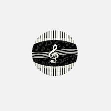 Stylish designer piano and music notes Mini Button
