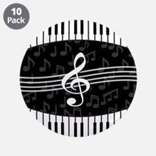 """Stylish designer piano and music notes 3.5"""" Button"""