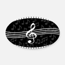 Stylish designer piano and music notes Oval Car Ma