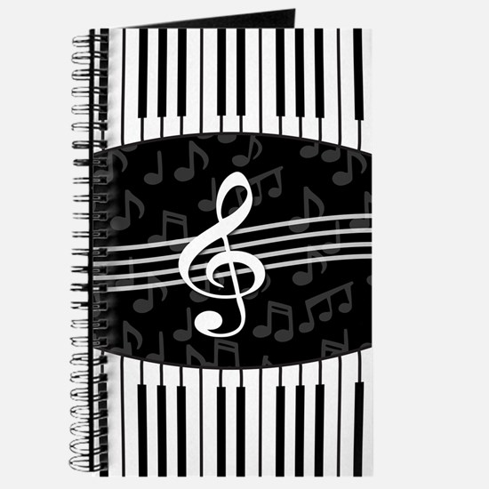 Stylish designer piano and music notes Journal