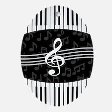Stylish designer piano and music notes Ornament (O