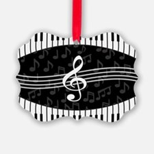 Stylish designer piano and music notes Ornament